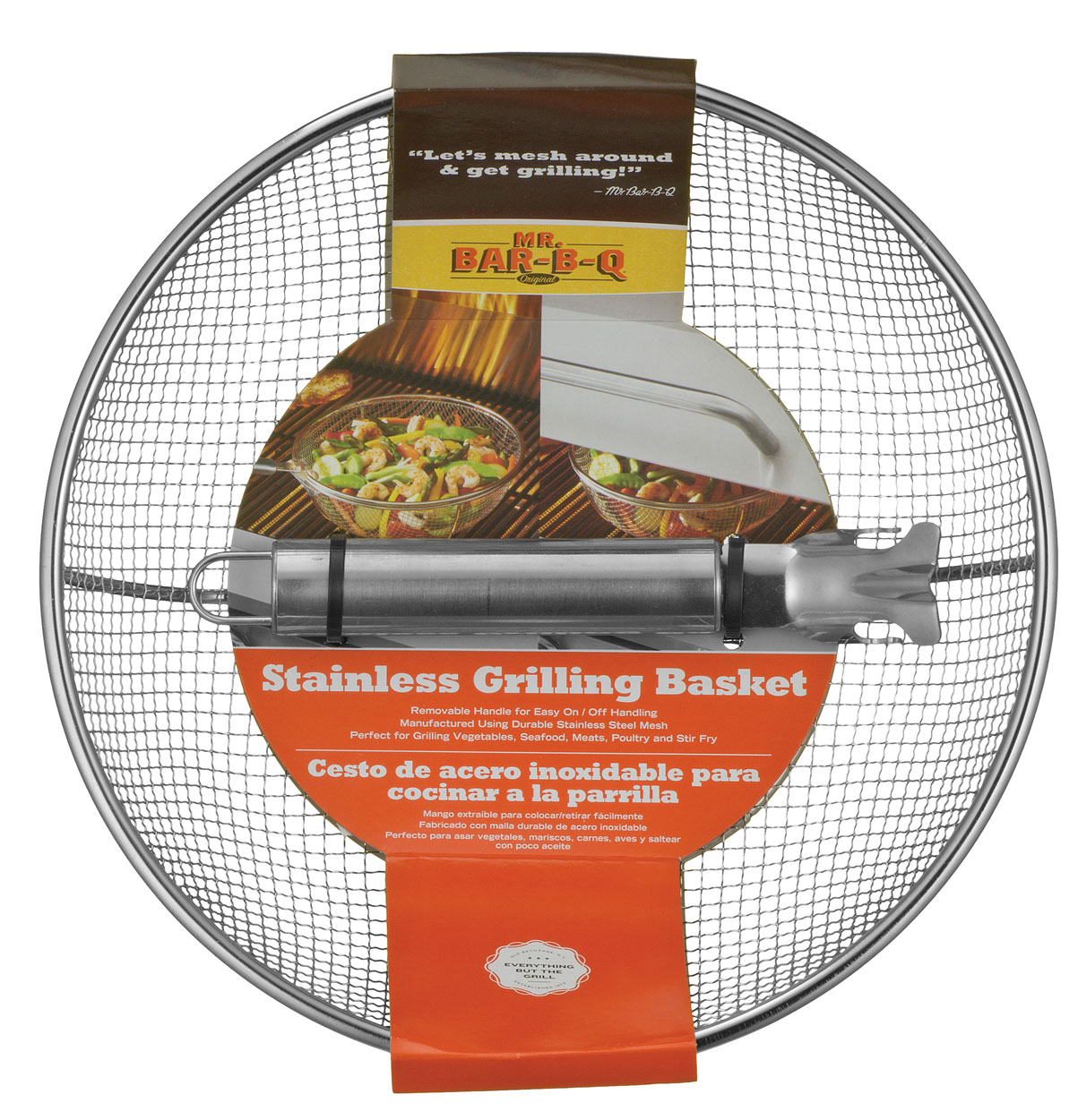 Stainless Steel Mesh Grilling Basket With Removable Handle